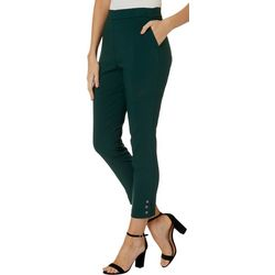 Counterparts Womens Solid Button Embellished Ankle Pants