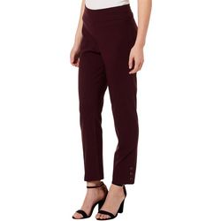 Counterparts Womens Solid Button Detail Ankle Pants