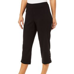 Counterparts Womens Solid Pull On Rivet Capris
