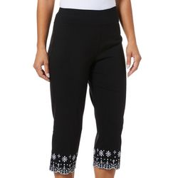 Counterparts Womens Embroidered Floral Hem Capris