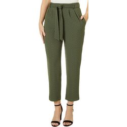 Lush Womens Solid Belted Cropped Pants