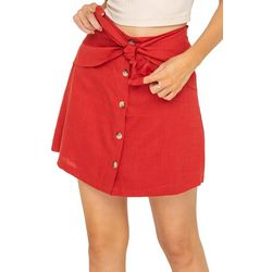 Lush Womens Solid Button Down Tie Front Skirt