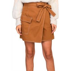 Lush Womens Solid Cargo Wrap Skirt