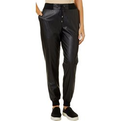 Willow & Clay Womens Faux Leather Jogger Pants