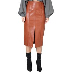 Do + Be Womens Solid Faux Leather Skirt