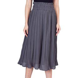 Do + Be Womens Solid Pleated Elastic Waist Skirt