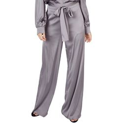Do + Be Womens Solid Belted Wide Leg Pants