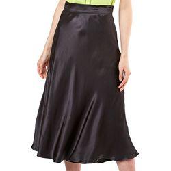 Do + Be Womens Solid Satin Slip Skirt