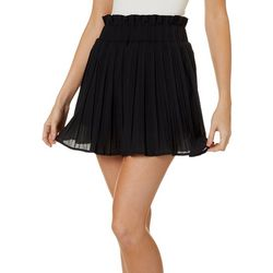 Do + Be Womens Solid Pleated Skort
