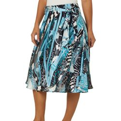 Flint & Moss Womens Mixed Animal & Chain Print Satin Skirt