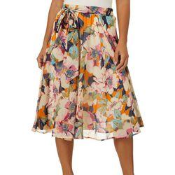 Flint & Moss Womens Georgette Floral Print Sheer Skirt