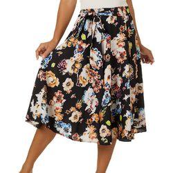 Flint & Moss Womens Glitter Floral Print Skirt