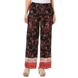 Spense Womens Floral Paisley Pull On Pants
