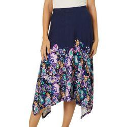 Como Blue Womens Floral Paisley Print Sharkbite Skirt