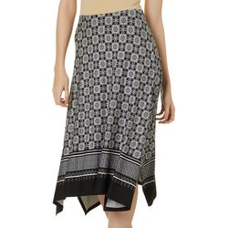 Como Blue Womens Tile Print Sharkbite Skirt