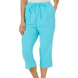 Calypso Clothing Womens Solid Gauze Pull On Capris