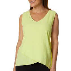 Calypso Clothing Womens Solid Button Accent Gauze Tank Top