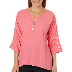 Calypso Clothing Womens Solid Button Sleeve Gauze Top