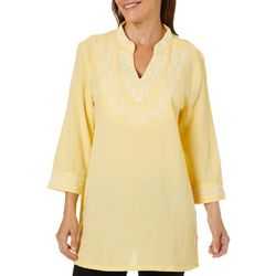 Calypso Clothing Womens Embroidered Floral Gsuze Tunic Top