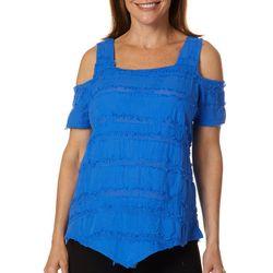 Calypso Clothing Womens Eyelash Cold Shoulder Top