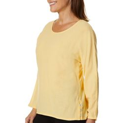 Calypso Clothing Womens Easy Side Button Solid Top