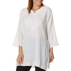 India Boutique Womens Solid Embroidered Tunic Top