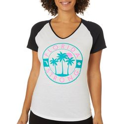 Florida Strong Womens Neon Logo Colorblock V-Neck T-Shirt