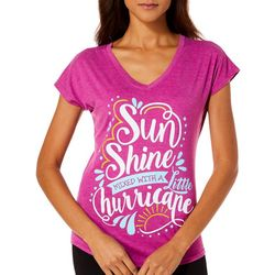 Florida Strong Womens Sunshine Screen Print V-Neck T-Shirt