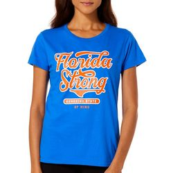 Florida Strong Womens Blue & Orange Logo Graphic T-Shirt