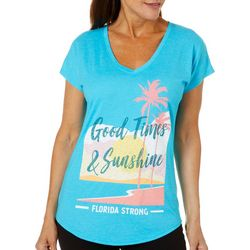 Florida Strong Womens Good Times & Sunshine V-Neck T-Shirt