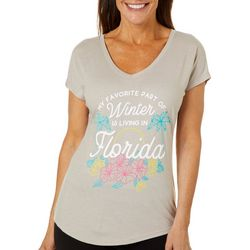 Florida Strong Womens Winter In Florida V-Neck T-Shirt