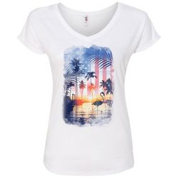 T-Shirt International Womens American Flag Sunset T-Shirt