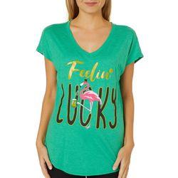 T-Shirt International Womens Feelin' Lucky Flamingo T-Shirt