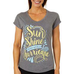 Florida Strong Womens Sunshine Screen Print V-Neck T-Shirt