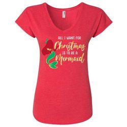 Florida Strong Womens Mermaid Holiday V-Neck T-Shirt