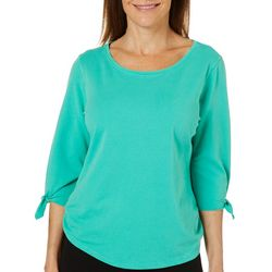 Hot Cotton Womens Rouched Side Tie Sleeve Top