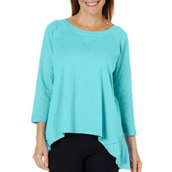 Hot Cotton Womens Solid High-Low Top