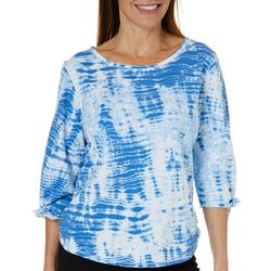 Hot Cotton Womens Tie Dye Tie Sleeve Top