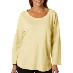 Hot Cotton Womens Solid Textured Round Neck Top