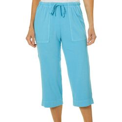 Hot Cotton Womens Solid Drawstring Pull On Capris