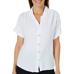Hot Cotton Womens Textured Button Down Linen Top