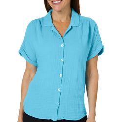 Hot Cotton Womens Textured Button Down Linen Top