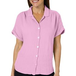 Hot Cotton Womens Textured Button Down Gauze Top