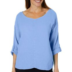 Hot Cotton Womens Solid Textured Roll Tab Top