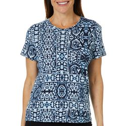 Hot Cotton Womens Mosaic Tile Print Top