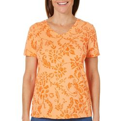 Hot Cotton Womens Scratched Floral Print Top
