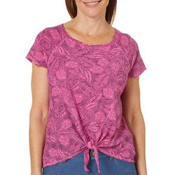 Hot Cotton Womens Leaf Print Tie Front T-shirt