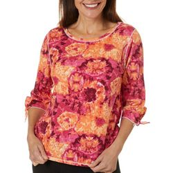 Hot Cotton Womens Tie Dye Tie Sleeve Round Neck Top