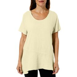 Hot Cotton Womens Solid Short Sleeve Linen Top