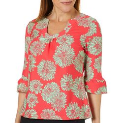 Aryeh Womens Floral Print Ruffle Sleeve Top